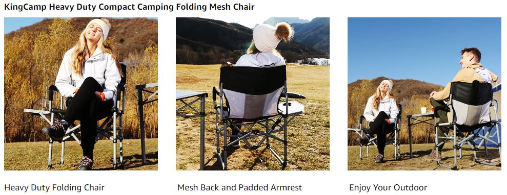 KingCamp Heavy Duty Compact Camping Folding Mesh Chair 2