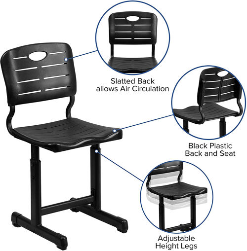 Adjustable Height Black Student Chair
