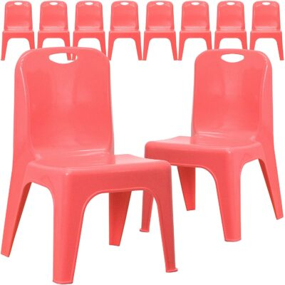 Flash Furniture 10 Pack Red Plastic Stackable School Chair 2