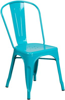Flash Furniture Commercial Grade Crystal Teal Blue Metal Indoor Outdoor Stackable Chair 2