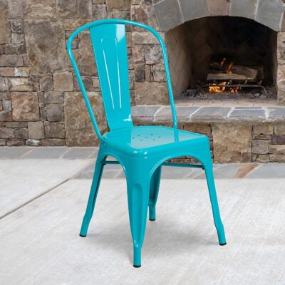 Flash Furniture Commercial Grade Crystal Teal Blue Metal Indoor Outdoor Stackable Chair 3