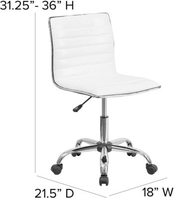 Flash Furniture Low Back Designer Armless White Ribbed Swivel Task Office Chair 3