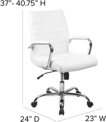 Flash Furniture Mid Back White LeatherSoft Executive Swivel Office Chair 2