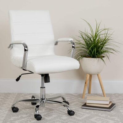Flash Furniture Mid Back White LeatherSoft Executive Swivel Office Chair 4