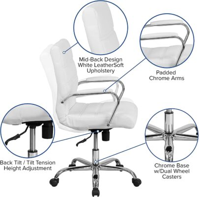 Mid Back White LeatherSoft Executive Swivel Office Chair